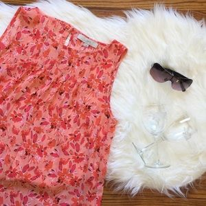 LOFT Coral Floral Pintuck Shell